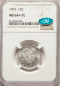 1892 25C MS64+ Prooflike NGC. CAC. NGC Census: (1/5 and 1/0+). PCGS Population: (0/0 and 0/1+). ...(PCGS# 85601)
