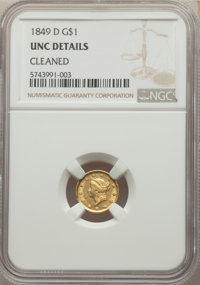 1849-D G$1 -- Cleaned -- NGC Details. Unc. Mintage 21,588. ...(PCGS# 7507)
