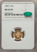 1882 G$1 MS64 Prooflike NGC. CAC. NGC Census: (3/7). PCGS Population: (0/0). MS64. Mintage 5,000. ...(PCGS# 77583)