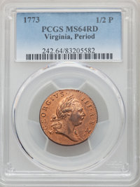 1773 1/2 P Virginia Halfpenny, Period, MS64 Red PCGS. PCGS Population: (42/2). NGC Census: (4/0). ...(PCGS# 242)