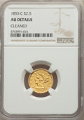 Liberty Quarter Eagles: , 1855-C $2 1/2 -- Cleaned -- NGC Details. AU. Mintage 3,677. ...
