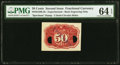 Fractional Currency:Second Issue, Milton 2E50R.3b 50¢ Second Issue Experimental Back PMG Choice Uncirculated 64 EPQ.. ...