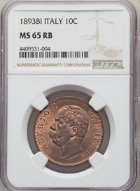 Italy: Umberto I 10 Centesimi 1893-BI MS65 Red and Brown NGC