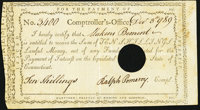 State of Connecticut Comptroller's Office 10s Dec. 3, 1789 Very Fine, HOC