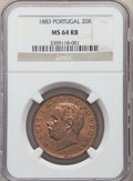 Portugal, Portugal: Luiz I 20 Reis 1883 MS64 Red and Brown NGC,...