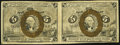 Fractional Currency:Second Issue, Uncut Horizontal Pair Fr. 1233 5¢ Second Issue Fine-Very Fine.. ...