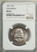 Commemorative Silver, 1892 50C Columbian MS64 NGC. NGC Census: (1923/1123). PCGS Population: (1987/1145). MS64. Mintage 950,000. ...