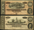 Confederate Notes:1864 Issues, T67 $20 1864 Very Fine, pinholes;. T68 $10 1864 About Uncirculated.. ... (Total: 2 notes)