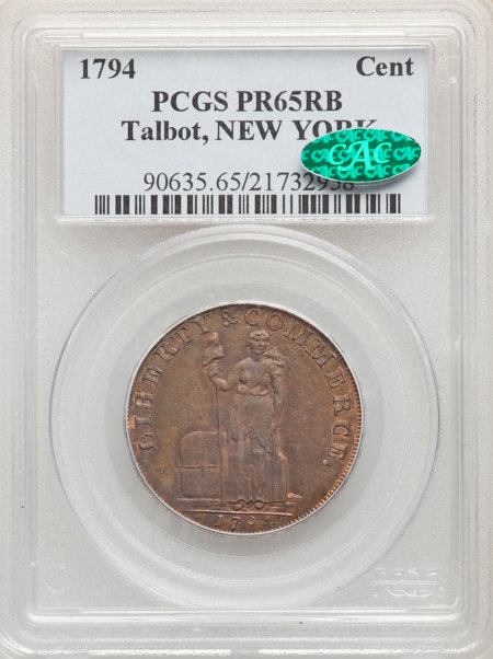 1794 Cent Talbot, RB CAC 65 PCGS