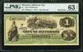 Jefferson City, MO- City of Jefferson $1 Sept. 1, 1875 Remainder PMG Choice Uncirculated 63 EPQ