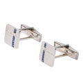 Estate Jewelry:Cufflinks, Diamond, Sapphire, Platinum, White Gold Cuff Links. ...