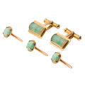 Estate Jewelry:Cufflinks, Jadeite Jade, Gold Dress Set. ... (Total: 4 Items)