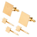 Estate Jewelry:Cufflinks, Gold Dress Set. ... (Total: 4 Items)