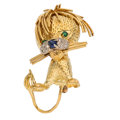 Estate Jewelry:Brooches - Pins, Sapphire, Emerald, Diamond, Gold Brooch . ...