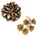 Estate Jewelry:Brooches - Pins, Sapphire, Enamel, Gold Brooches. ... (Total: 2 Items)