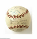 Autographs:Baseballs, 1949 Hall of Fame Signed Baseball....