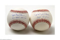 Autographs:Baseballs, Hal Newhouser Single Signed Baseballs Lot of 2.... (2 items)