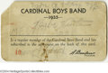 Autographs:Others, 1935 Babe Ruth Signed Cardinals Boys Band I.D. Card....
