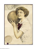 Basketball Collectibles:Others, Early Women's College Basketball Print....