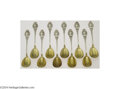 Silver & Vertu:Flatware, Wood & Hughes: A GROUP OF TEN AMERICAN SILVER MEDALLION PATTERN EGG SPOONS (Mark of Wood & Hughes, New York) . Mark of Wood ... (Total: 10 Items Item)