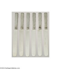 Tiffany & Co.: A GROUP OF SIX AMERICAN SILVER (Mark of Tiffany & Co., New York) LAP-OVER-EDGE PATTERN KNIVES Mar...