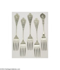 Silver Flatware, American:Albert Coles, Albert Coles: FIVE AMERICAN SILVER MEDALLION PATTERN FORKS (... (6Items)