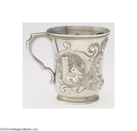 William Gale: AN AMERICAN COIN SILVER ARCHITECTURAL REPOUSSE CUP (Mark of William Gale & Son, New York) Mark of Will...