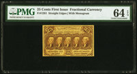 Fr. 1281 25¢ First Issue PMG Choice Uncirculated 64 EPQ