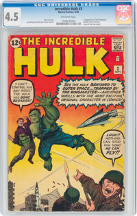 The Incredible Hulk #3 (Marvel, 1962) CGC VG+ 4.5 Off-white pages