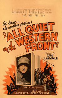 "All Quiet on the Western Front (Universal, 1930). Fine. Window Card (14"" X 22""). Academy Award Winners"