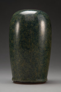 A Ge Mingxiang Green and Blue Yixing Earthenware Vase, Qing Dynasty, Qianlong Period Marks: Four-character impress