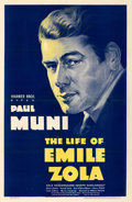 "Movie Posters:Academy Award Winners, The Life of Emile Zola (Warner Bros., 1937). Very Fine- on Linen. One Sheet (27"" X 41.5"").. ..."