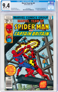 Marvel Team-Up #65 Spider-Man and Captain Britain (Marvel, 1978) CGC NM 9.4 Off-white to white pages