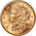 Liberty Double Eagles, 1857-S $20 Spiked Shield, Variety 20A, MS67 PCGS. CAC....