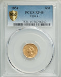 Gold Dollars, 1854 G$1 Type Two XF45 PCGS. PCGS Population: (321/3482). NGC Census: (171/5726). XF45. Mintage 783,943....