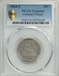 Seated Quarters, 1864-S 25C -- Cleaning -- PCGS Genuine. Fine Details. Mintage 20,000....