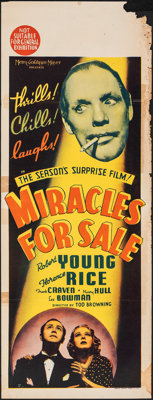 """Miracles for Sale (MGM, 1939). Folded, Fine. Australian Daybill (13"""" X 30""""). Mystery"""