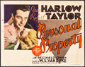 Movie Posters:Romance, Personal Property (MGM, 1937). Fine+. Title Lobby ...