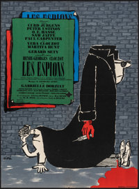 """The Spies (Filmdonor, 1957). Folded, Fine/Very Fine. French Moyenne (22.25"""" X 30.25"""") Sine Artwork. Foreign..."""