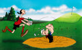 "Animation Art:Limited Edition Cel, Popeye and Olive Oyl ""A Day at the Links"" Signed Limited E..."