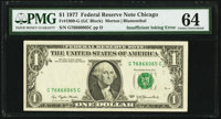 Insufficient Inking of Black Portion of Third Printing Overprint Fr. 1909-G $1 1977 Federal Reserve Note. PMG Choice Unc...