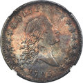 Early Half Dollars, 1795 50C Two Leaves, O-117a, T-3, R.4 -- Cleaned -- NGC Details. AU....