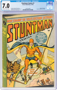 Stuntman Comics #1 (Harvey, 1946) CGC FN/VF 7.0 Off-white to white pages