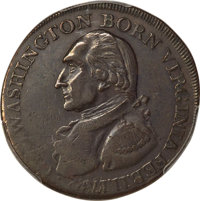 (1792) CENT Washington Born Virginia Cent, Inscribed Reverse, AU50 PCGS. Baker-60, W-10730, Musante GW-33, R.5....(PCGS#...