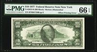Full Face to Back Offset Error Fr. 2023-B $10 1977 Federal Reserve Note. PMG Gem Uncirculated 66 EPQ