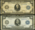 Large Size:Federal Reserve Notes, Fr. 930 $10 1914 Federal Reserve Note Very Good;. Fr. 1002 $20 1914 Federal Reserve Note Very Fine.. ... (Total: 2 notes)