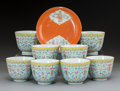 Ceramics & Porcelain, A Set of Eight Chinese Porcelain Cups and a Porcelain Saucer, Qing Dynasty, Tongzhi Period. Marks to cups: Four-character To... (Total: 9 Items)