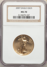 2007 $25 Half-Ounce Gold Eagle MS70 NGC. NGC Census: (5662). PCGS Population: (57). CDN: $975 Whsle. Bid for NGC/PCGS MS...