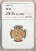 1848 $5 AU50 NGC. NGC Census: (35/262). PCGS Population: (35/147). CDN: $493.53.Whsle. Bid for NGC/PCGS AU50. Mintage 26...