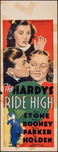 """Movie Posters:Comedy, The Hardys Ride High (MGM, 1939). Folded, Fine. Australian Pre-War Daybill (15"""" X 40""""). Comedy.. ..."""